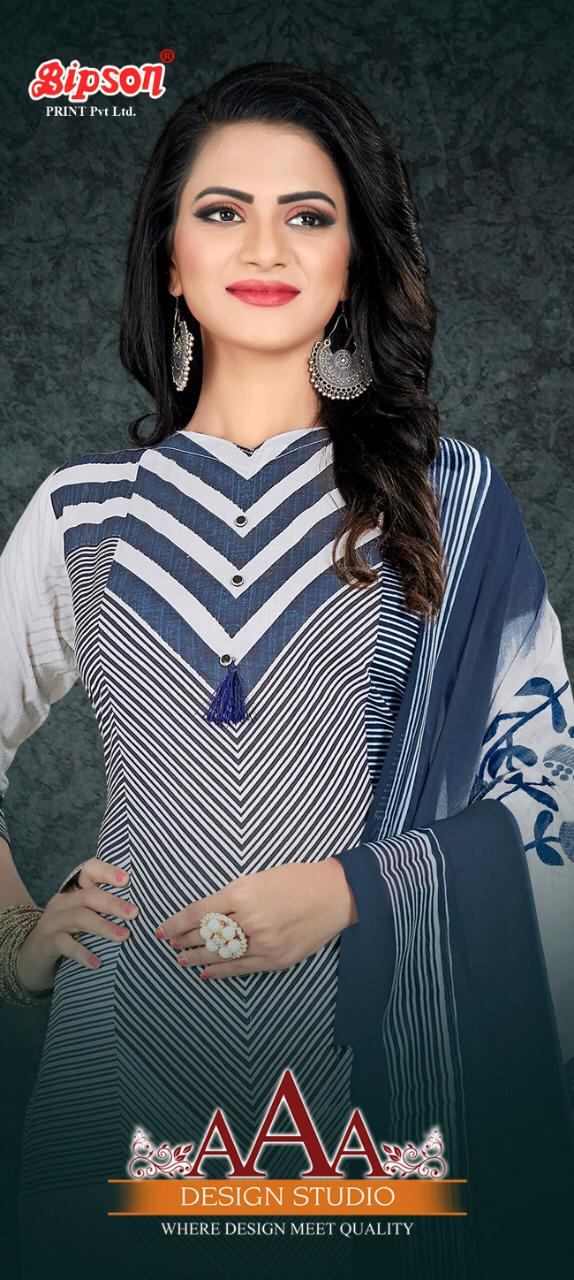 Bipson Aaa 904 907 Designer Cotton Satin Print With Work Suits Wholesale