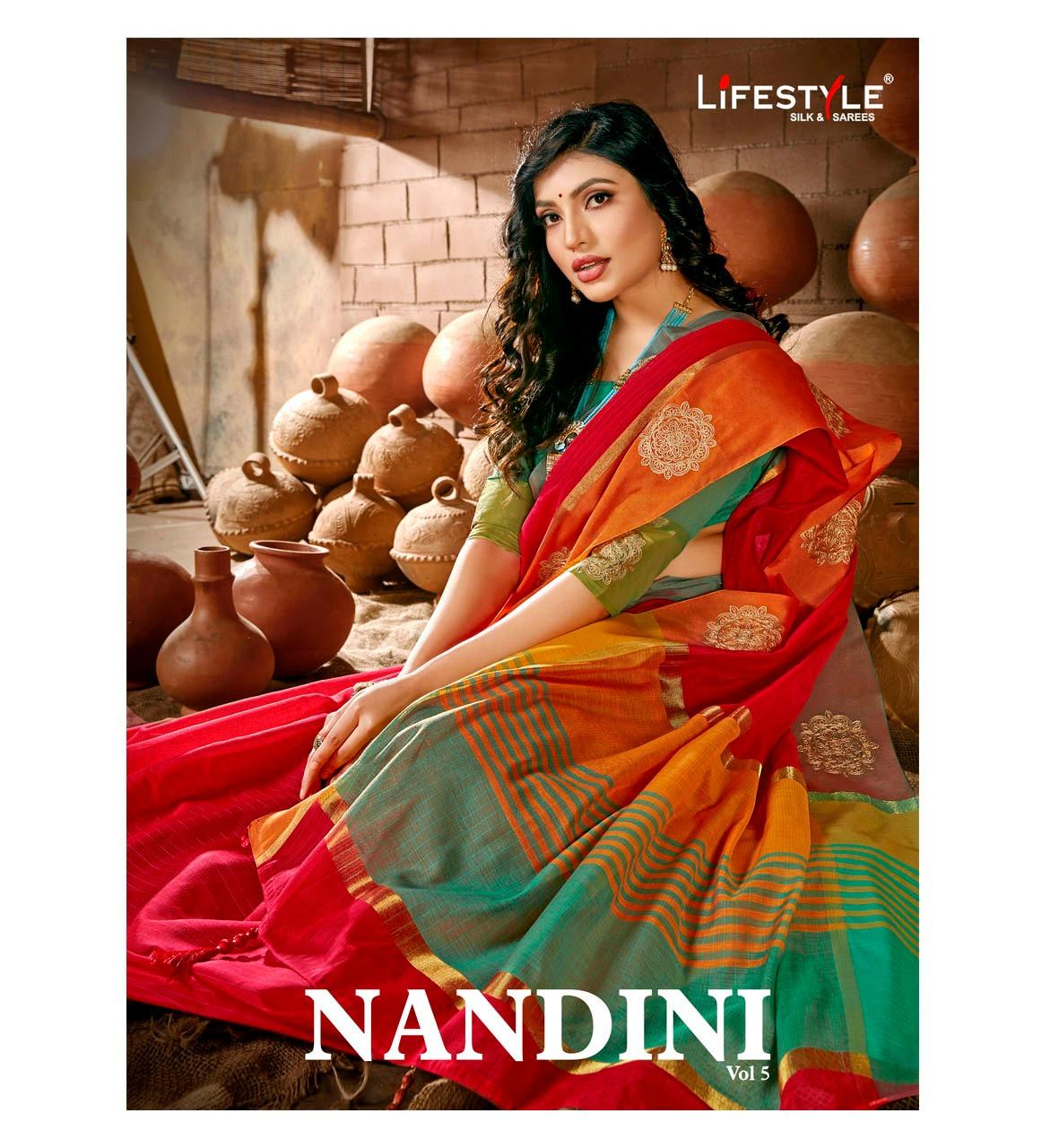 Lifestyle Nandini Designer Chanderi Silk With Embroidery Work Sarees Wholesale