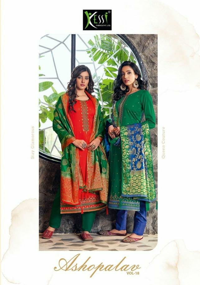 Kessi Asopalav Vol 18 Designer Jam Silk With Embroidery Work Suits Wholesale