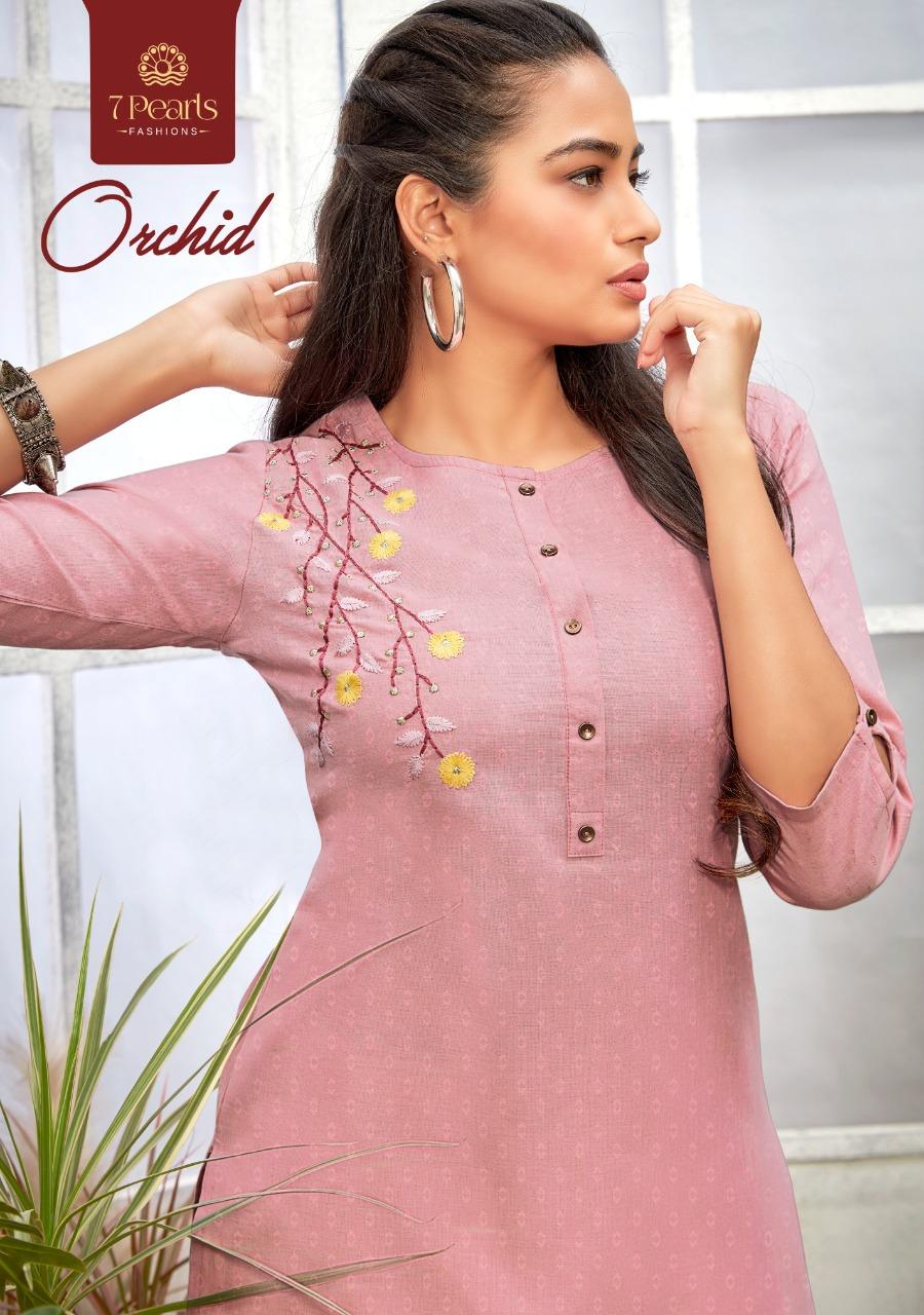 7 Pearls Orchid Designer Cotton With Embroidery Work Kurti With Pant Wholesale
