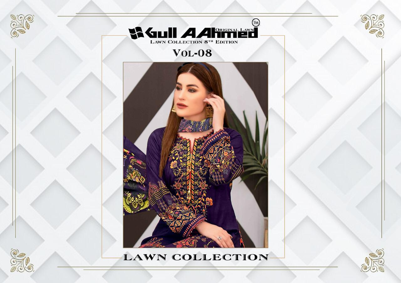 Gulahmed Vol 8 Designer Lawn Collection With Mal Mal Dupatta Suits Wholesale