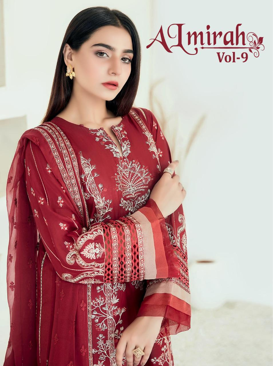 Shree Fab Almirah Vol 9 Designer Lawn With Self Embroidery Work Suits Wholesale