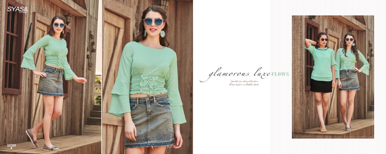 Syasii Summer Beauty Designer Viscose Lycra Printed Tops Wholesale