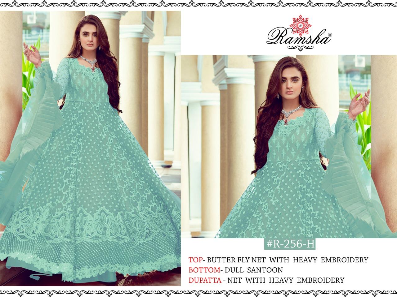 Ramsha R 256 Nx Designer Butterfly Net With Heavy Embroidery Work Partywear Pakistani Pattern Suits In Singles