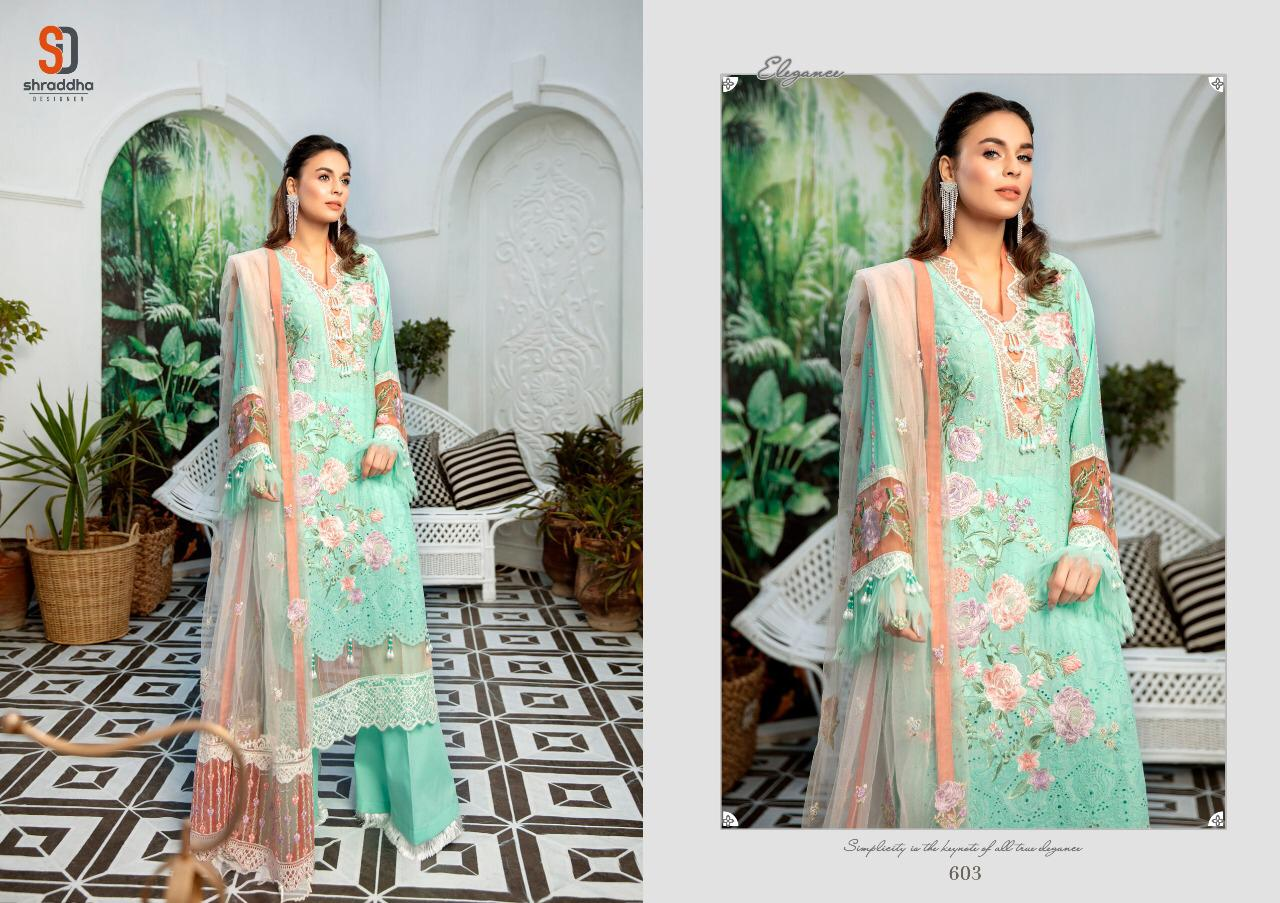 Shree Fab Adnan Libas Schiffli Collection Designer Pure Cotton With Heavy Embroidery Work Suits In Singles