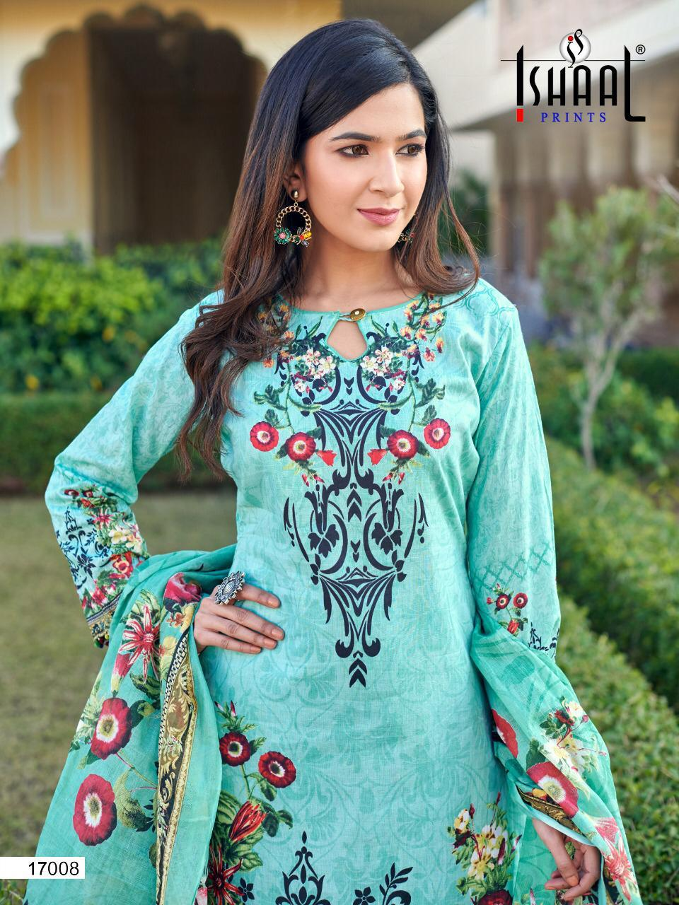 Ishaal Print Gulmohar Vol 17 Designer Lawn Collection With Mal Mal Dupatta Suits Wholesale