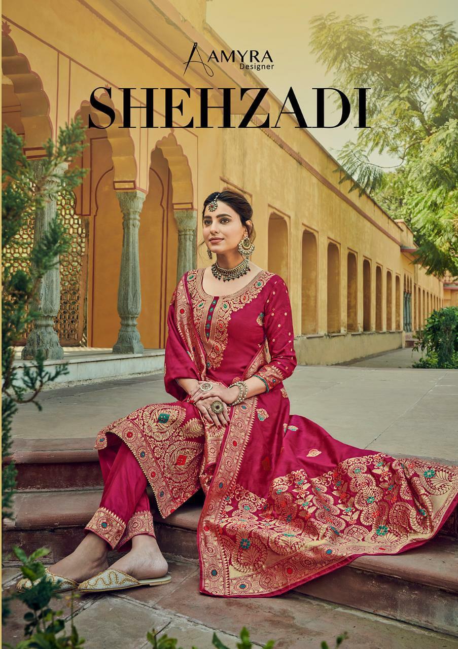 Amyra Shehzadi Designer Silk Jacquard With Fancy Work Suits Wholesale