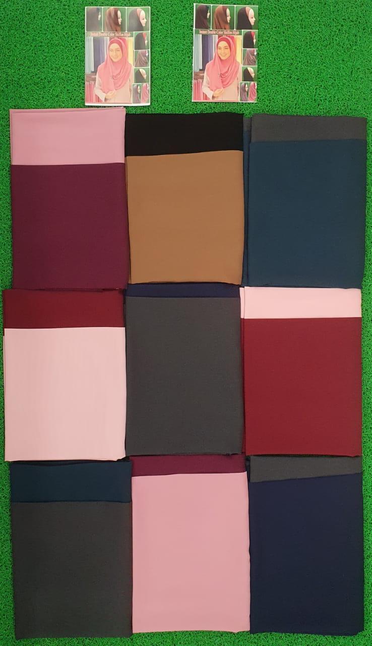 Duel Color Instant Dupatta Designer Chiffon Georgette Double Color Dupatta In Singles