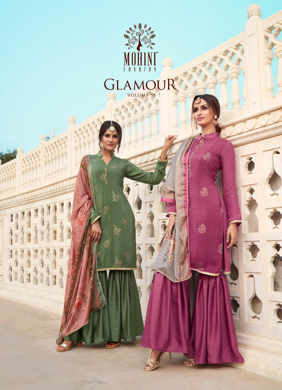 Mohini Fashion Glamour 91 Designer Pure Natural Crepe Silk Embroidery Work Suits Wholesale