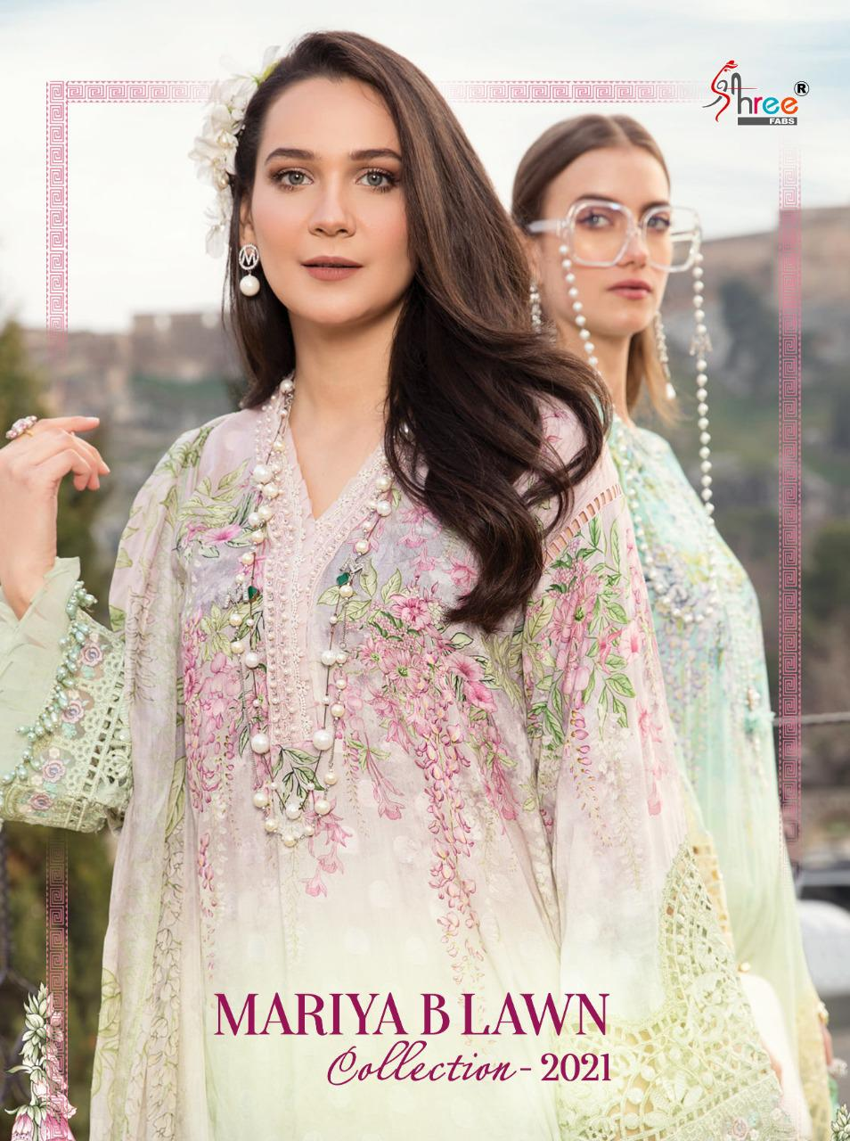 Shree Fab Mariya B Lawn Collection 2021 Designer  Pure Print With Embroidery Work Suits Wholesale