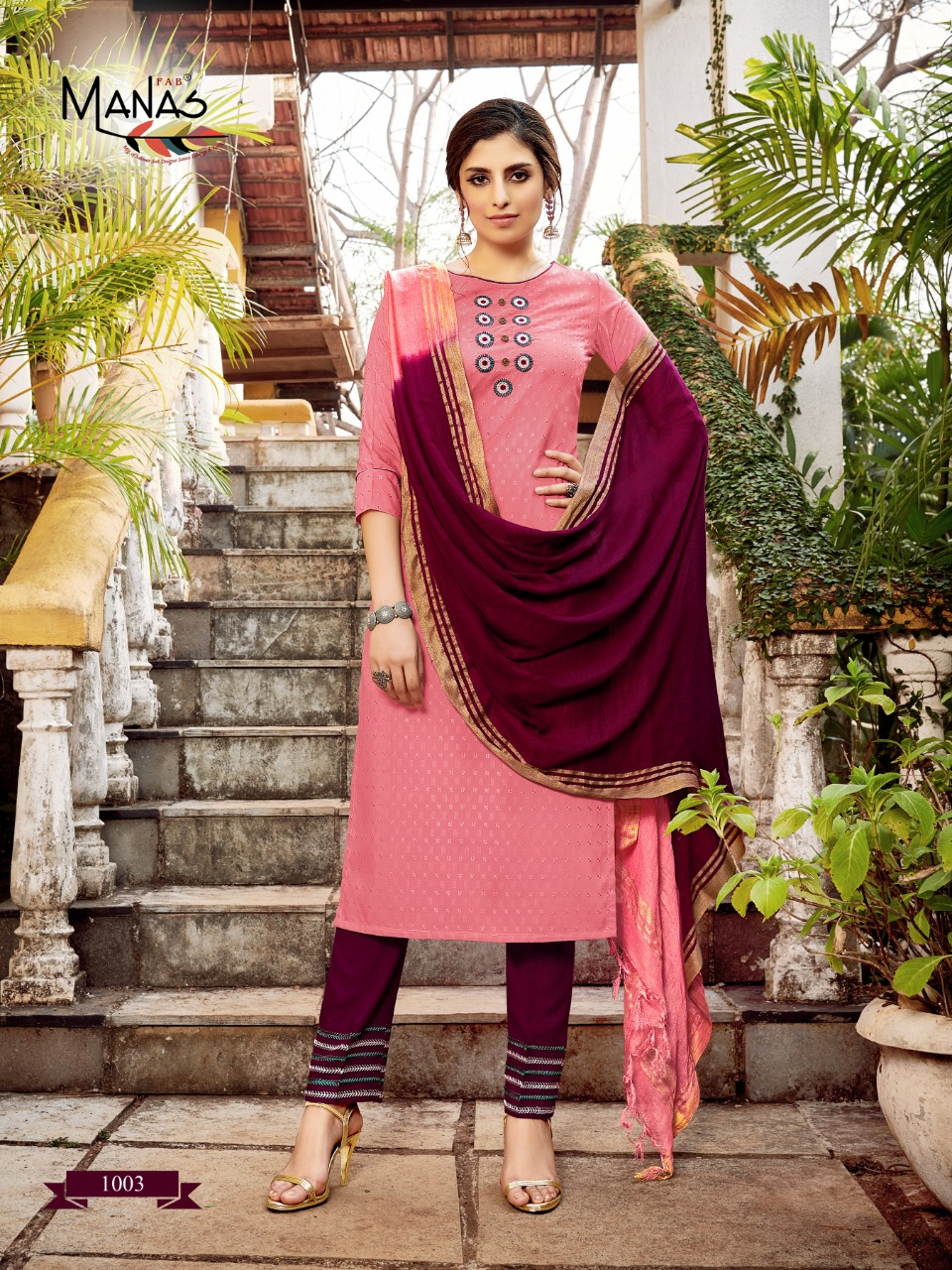 Manas Kaara Designer Fancy Dobby Weaving With Embroidery Work Stitch Suits Wholesale
