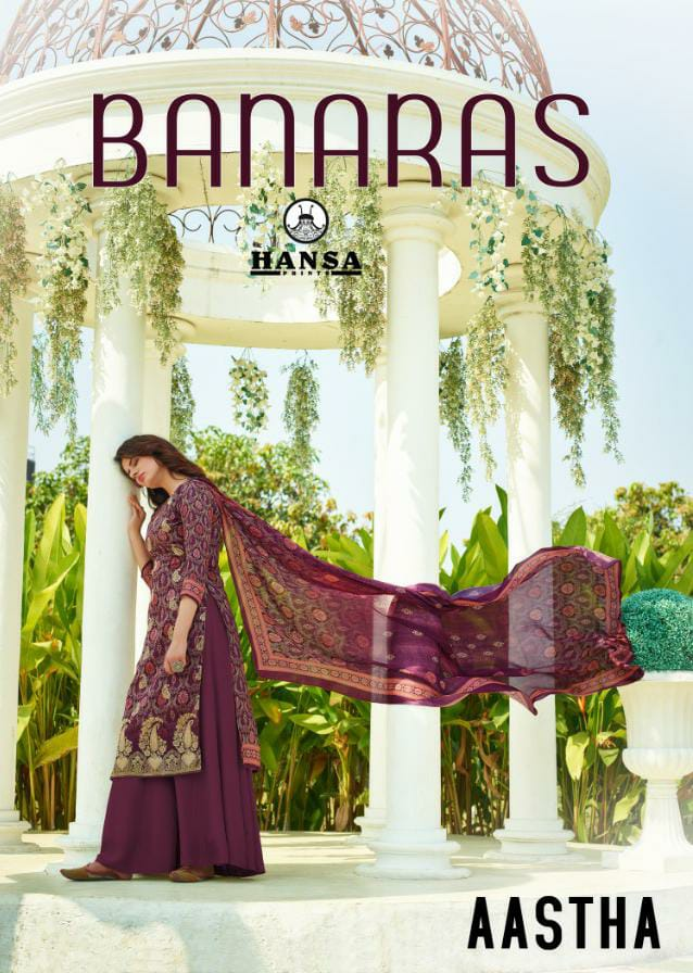 Hansa Aastha Designer Dola Jacquard Digital Printed Suits Wholesale