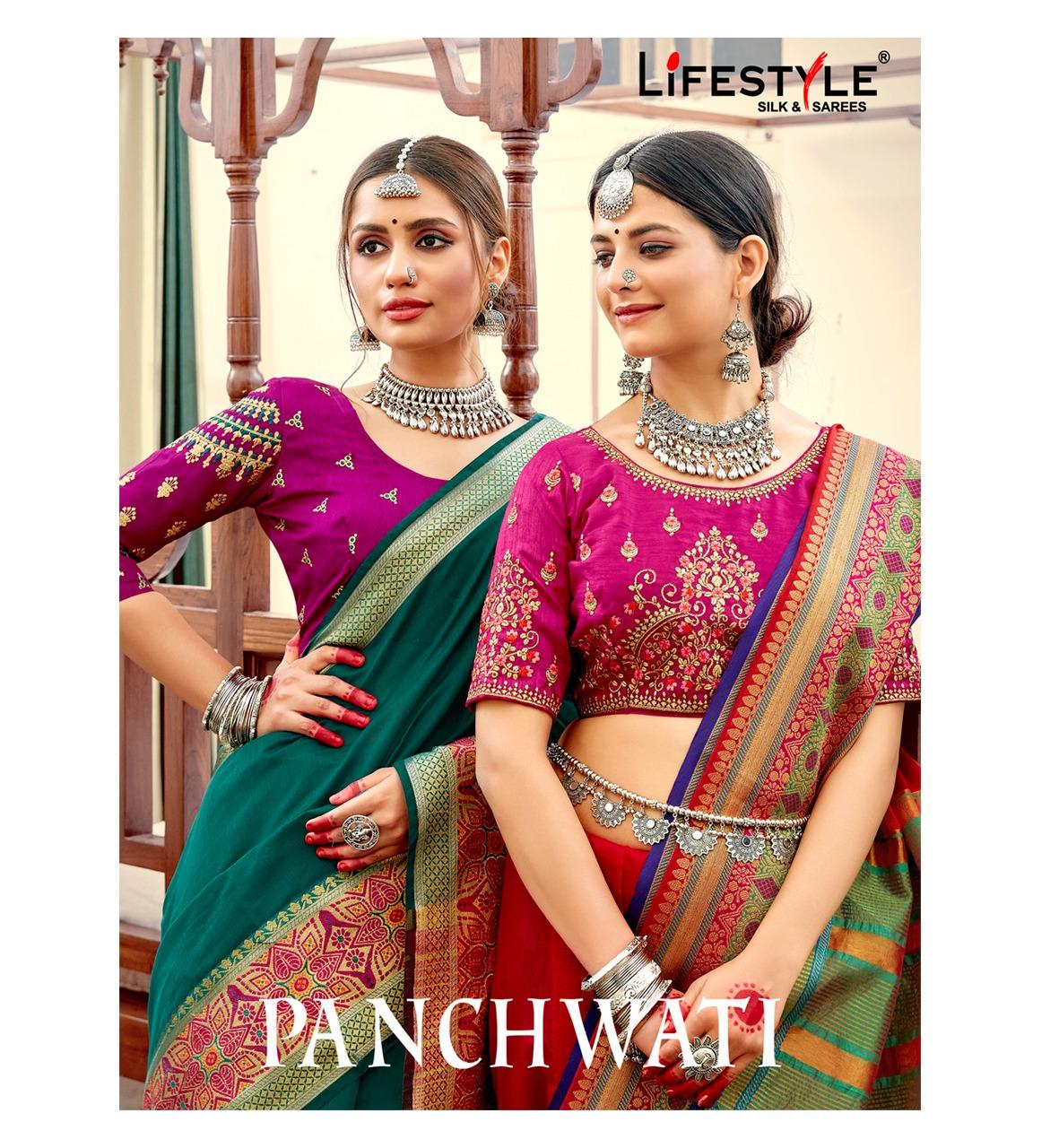 Lifestyle Panchwati Designer Chanderi Gala Silk Saree With Embroidery Work Blouse Wholesale