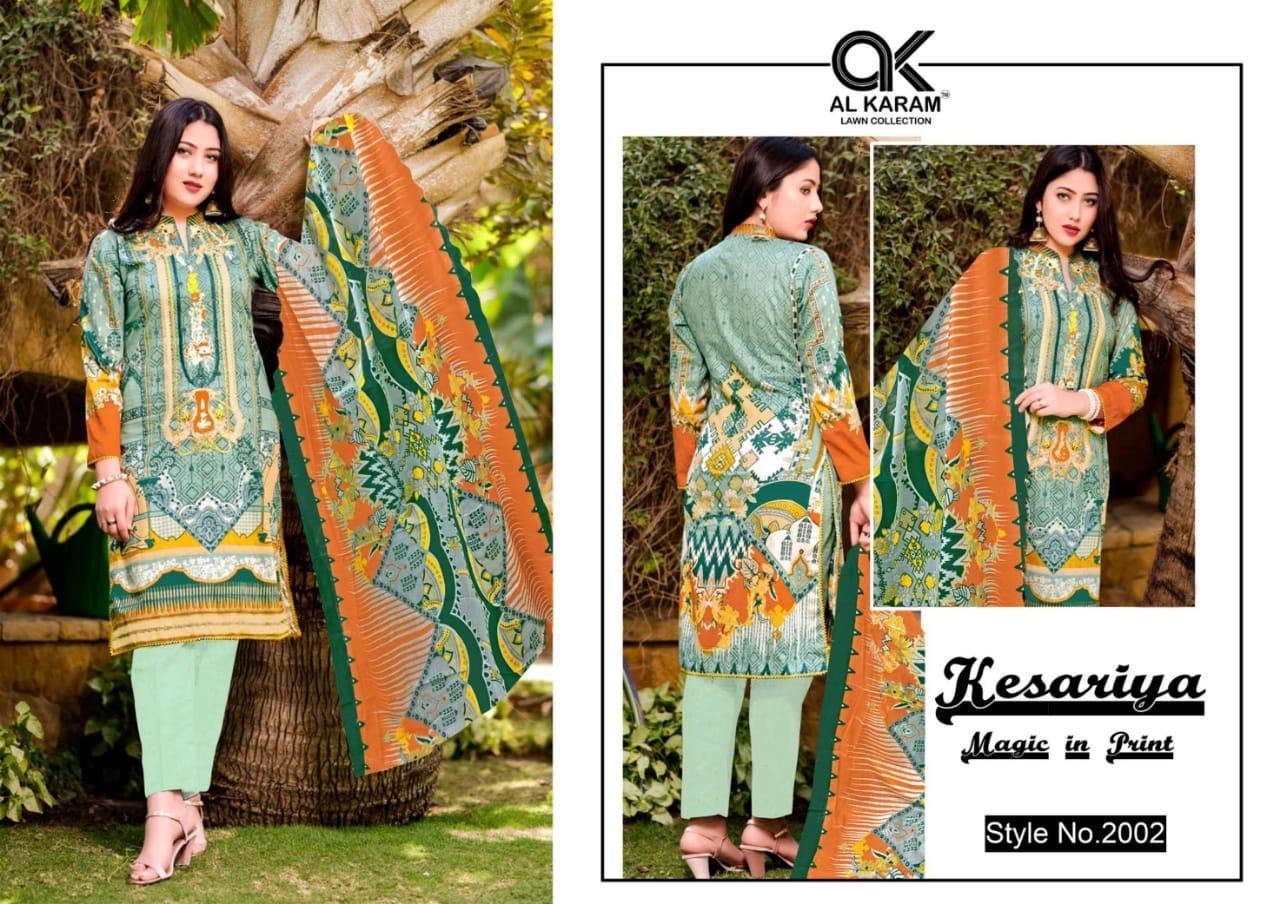 Al Akram Vol 2 Kesariya Cotton Magic Print Low Range Suit In Single