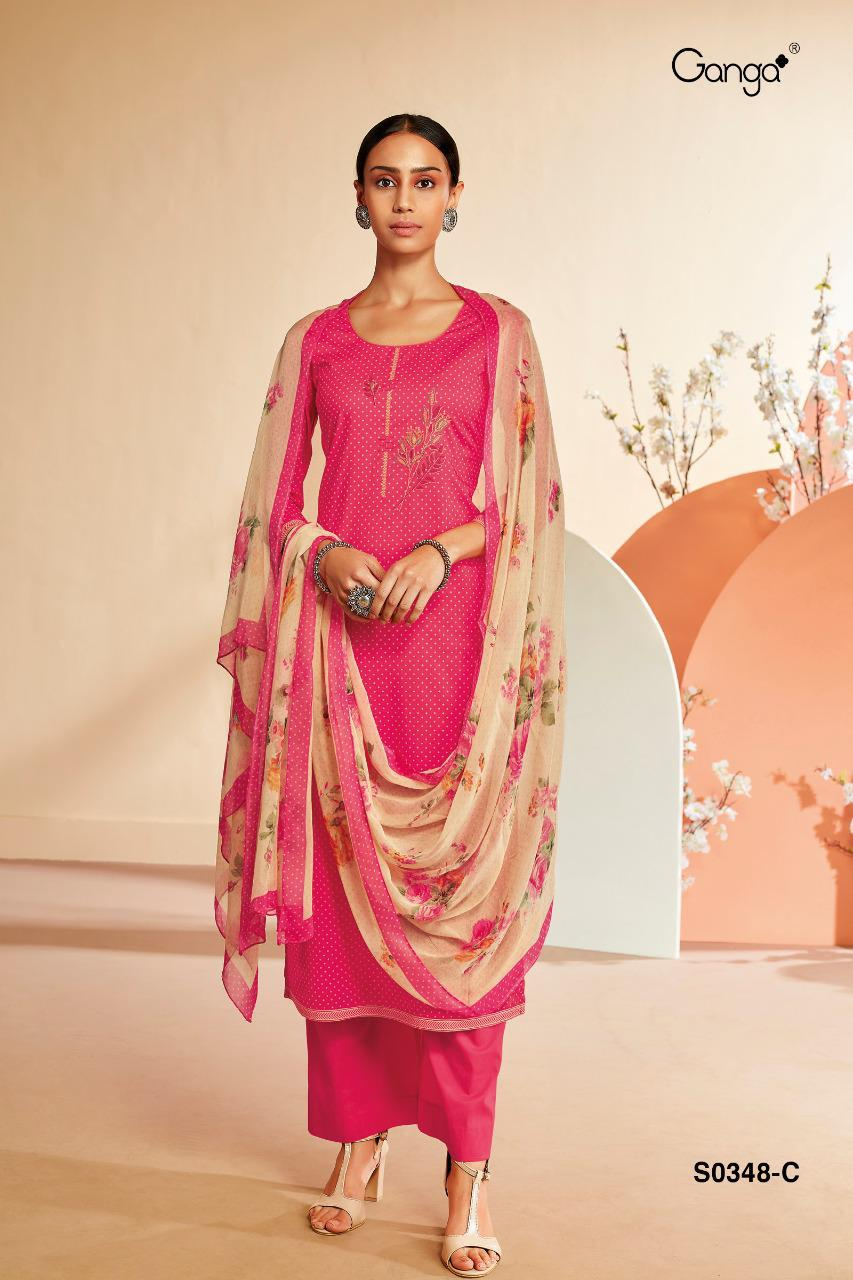 Ganga Hana 348 Designer Lawn Cotton With Embroidery Work Suits