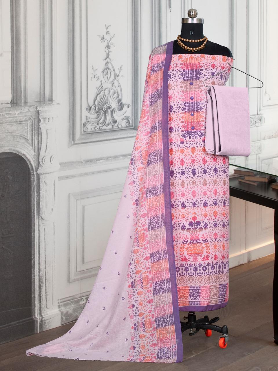 Bipson Cotton Queen 1355 Designer Cotton Print With Work Suits Wholesale