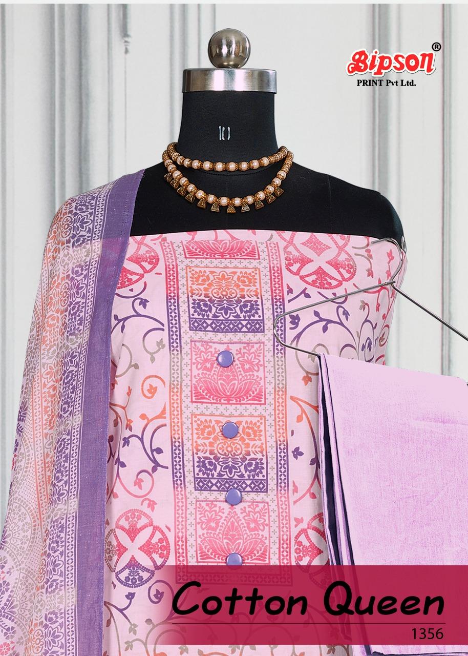 Bipson Cotton Queen 1356 Designer Cotton Print With Work Suits Wholesale