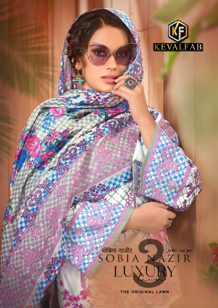 Keval Fab Sobia Nazir Luxury 3 Designer Lawn Printed Low Range Suits Wholesale