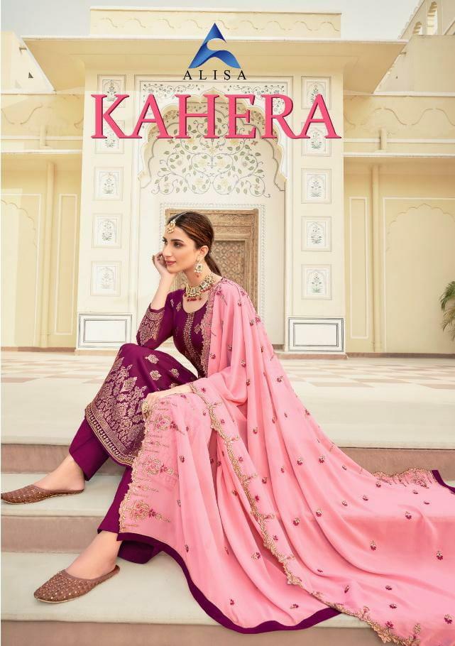Alisa Kahera Designer Jacquard Silk With Heavy Work Partywear Suits Wholesale
