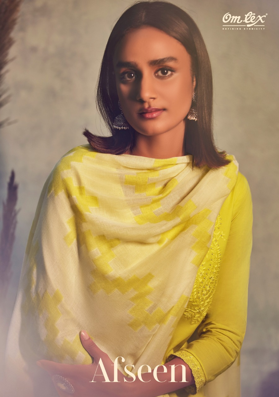 Om Tex Afseen Designer Lawn Cotton With Lucknowi Embroidery Work Suits Wholesale