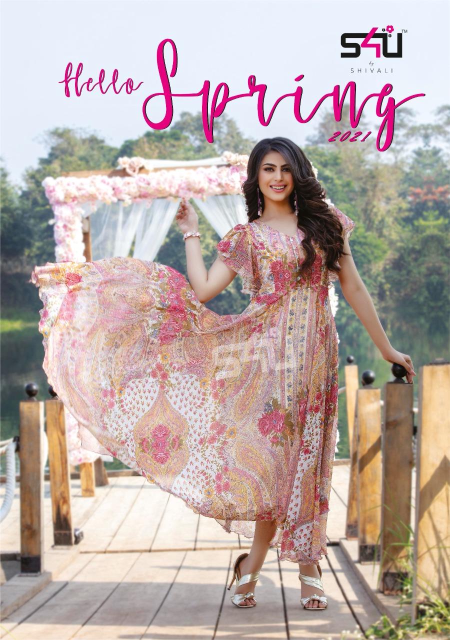 S4u Hello Springs Designer Chiffon Printed Gowns Wholesale