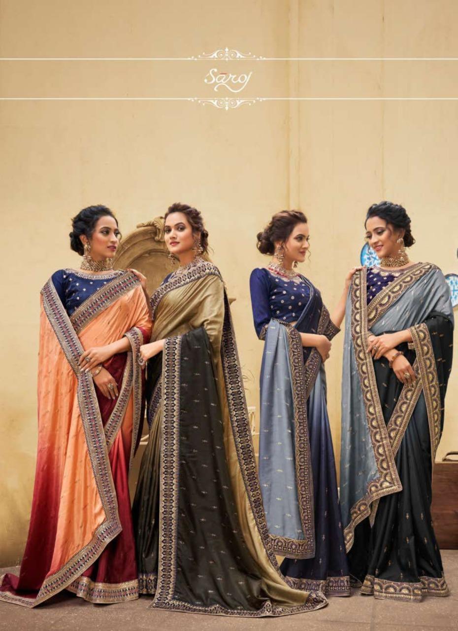 Saroj Savariya Designer Two Color Vichitra Silk With Swarovski Work And Heavy Border Partywear Sarees Wholesale
