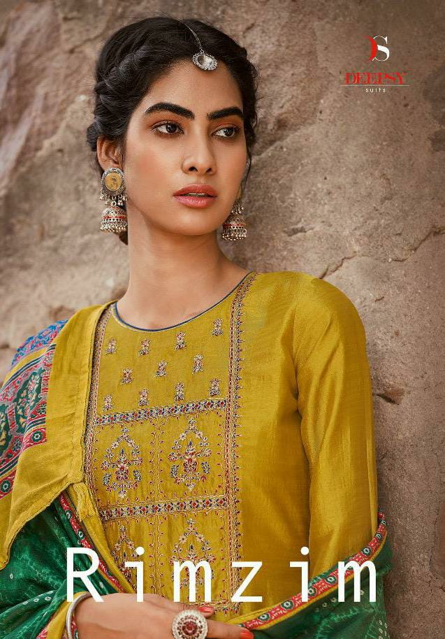 Deepsy Suit Rimzim Mulberry Silk With Codeing Embroidery Work Suits Wholesale