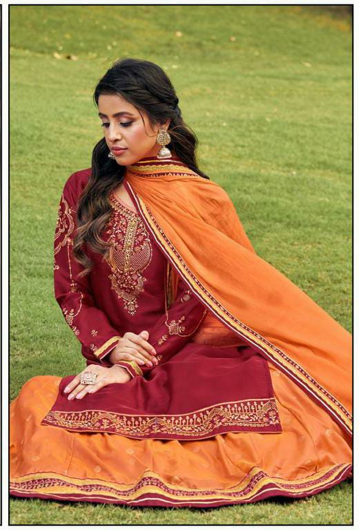 Rangoon Alankar  Satin Georgette With Sleeves Work Lahenga Party Wear Stitch Suits Wholesale