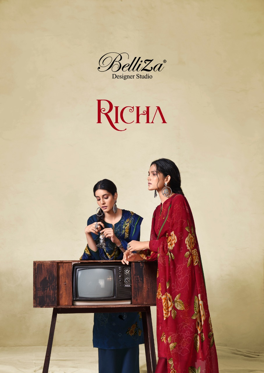 Belliza Richa Designer Rayon Digital Printed Exclusive Collections Of Suits Wholesale