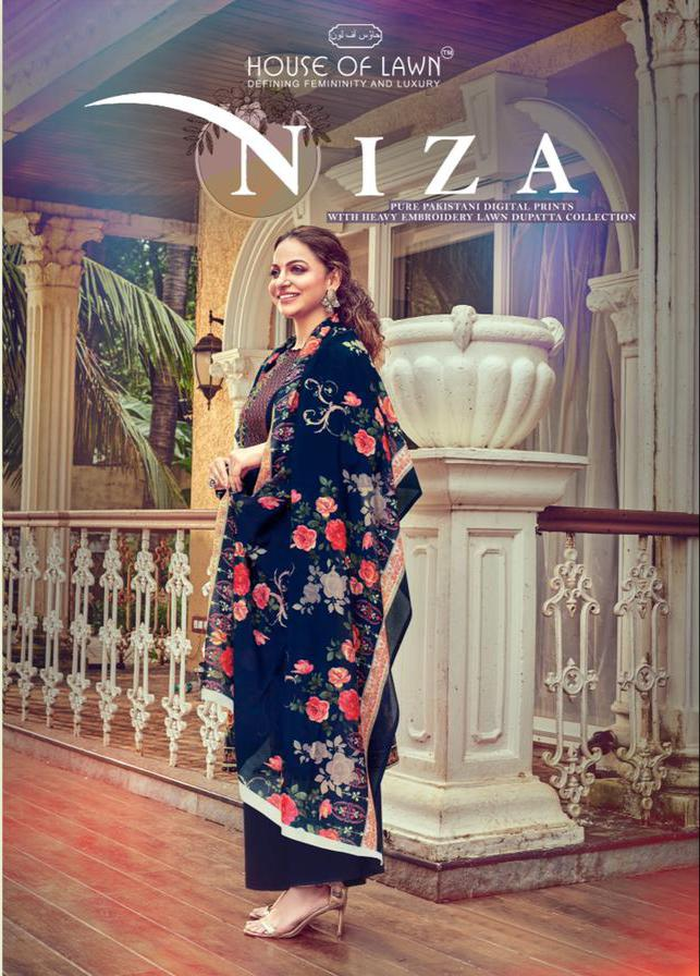Mumtaz Arts House Of Lawn Niza Designer Pure Pakistani Lawn Digital Printed With Heavy Embroidery Work Suits Wholesale