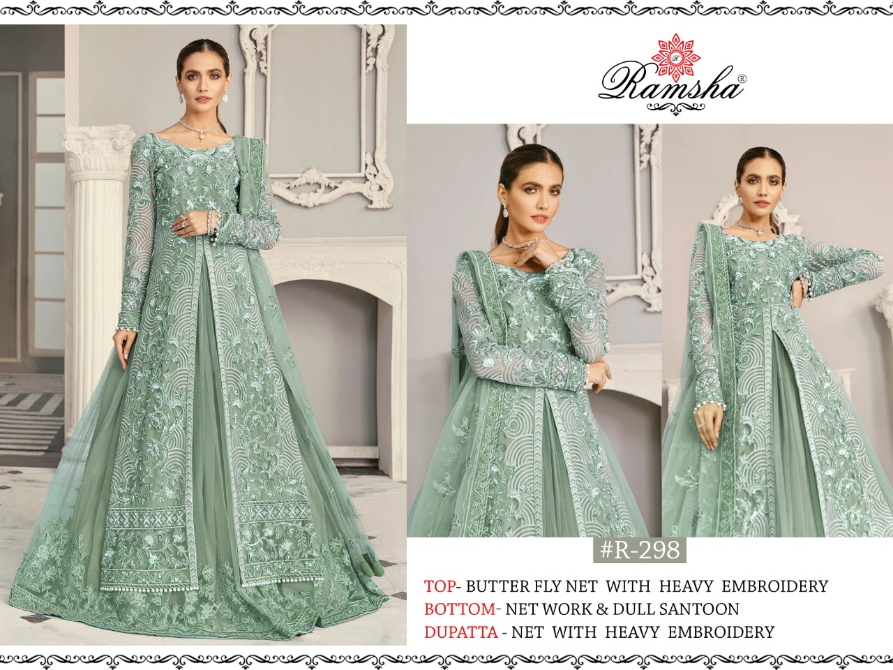 Ramsha R 295 - R 298 Vol 8 Designer Georgette/net With Heavy Embroidery Work Pakistani Pattern Suits In Singles