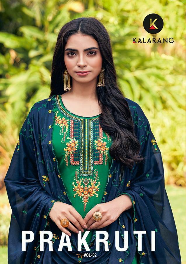 Kalarang Prakruti Designer Jam Silk Embroidery Work Suits Wholesale