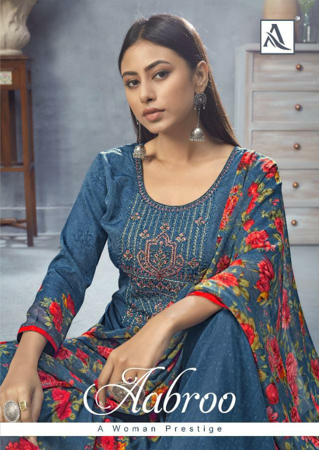 Alok Suit Aabroo Designer French Digital Print With Embroidery And Swarovski Work Suits Wholesale
