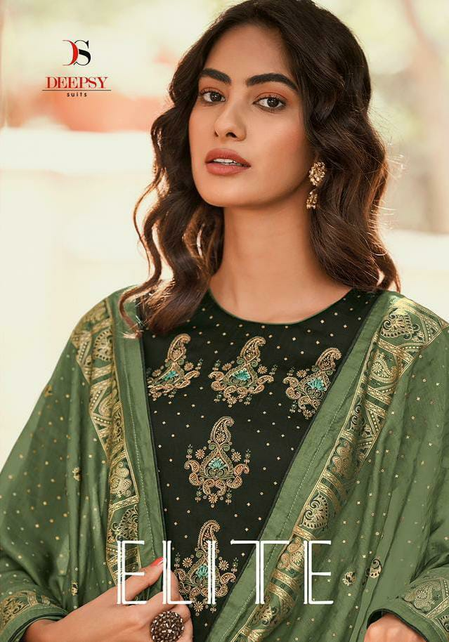 Deepsy Suits Elite Designer Silk Hand Block Foil Print With Hand Embroidery Work Suits Wholesale