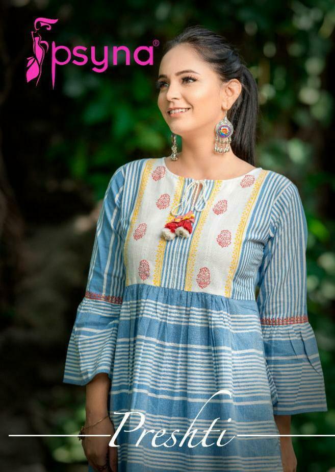 Psyna Presthi Designer Hand Block Laces Daily Wear Short Kurtis Wholesale
