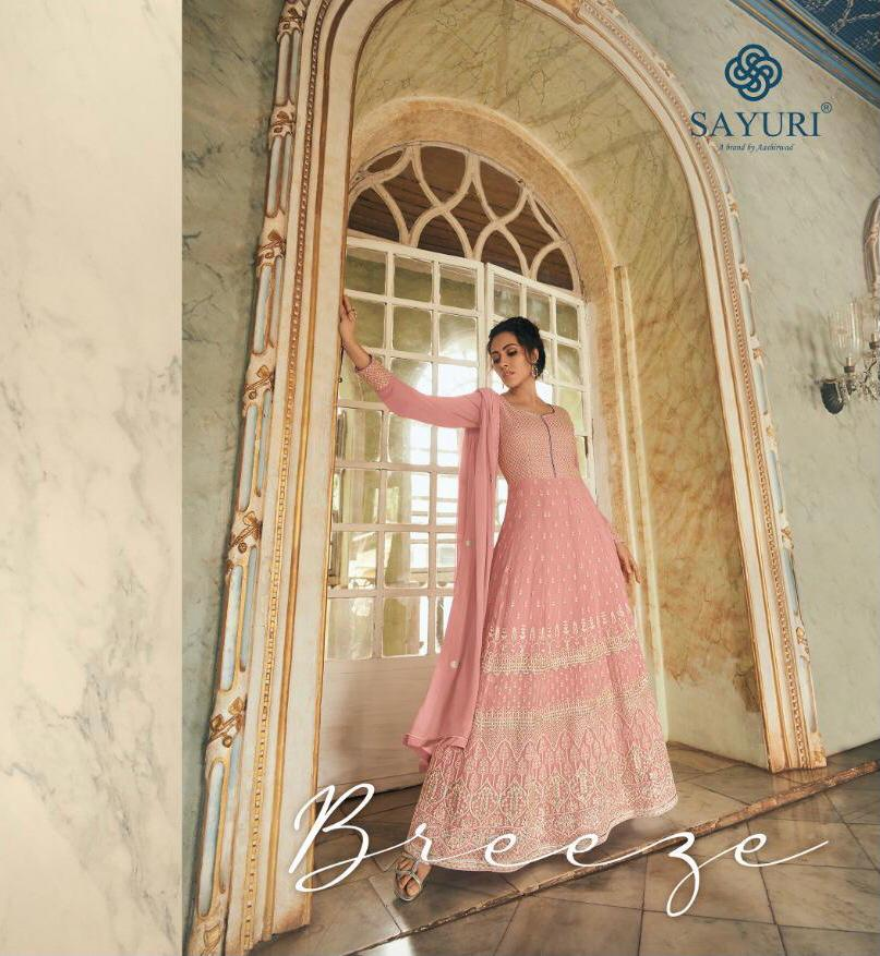 Aashirwad Breeze Designer Real Georgette With Lucknowi Work Partywear Unstitched Gowns Wholesale