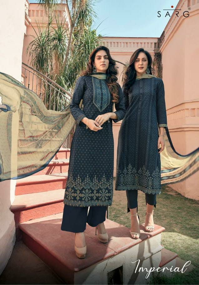 Sahiba Sarg Imperial Cambric Cotton Digital Printed With Embroidery Work Suits Wholesale