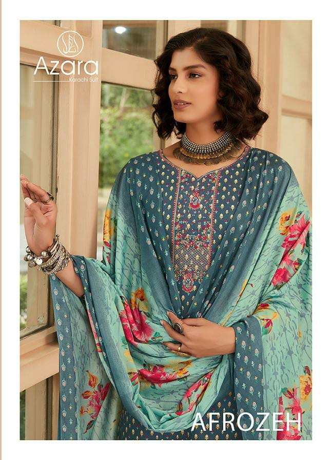 Azara Afrozeh Cambric Cotton Printed With Self Embroidery Work Suits Wholesale