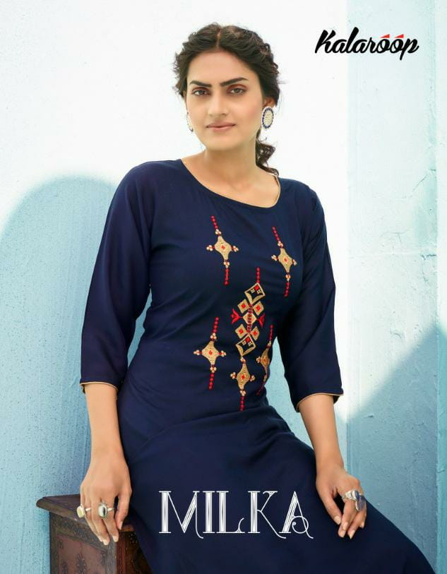 Kalaroop Kajree Milka Designer Rayon Embroidery Work Kurti With Plazzo Wholesale