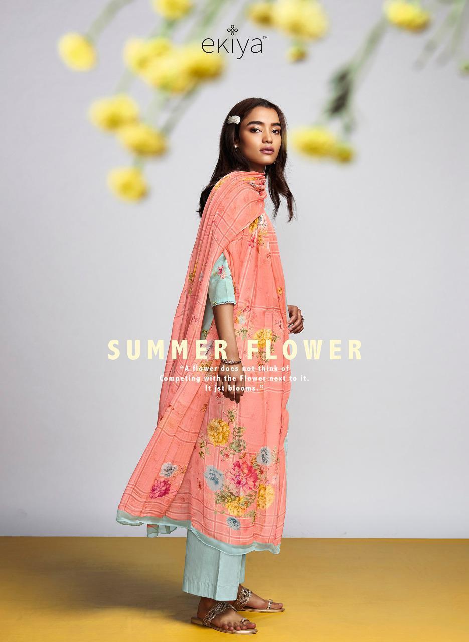 Ganga Ekiya Summer Flower Designer Cotton Lawn Print With Handwork And Swarovski Work Suits Wholesale