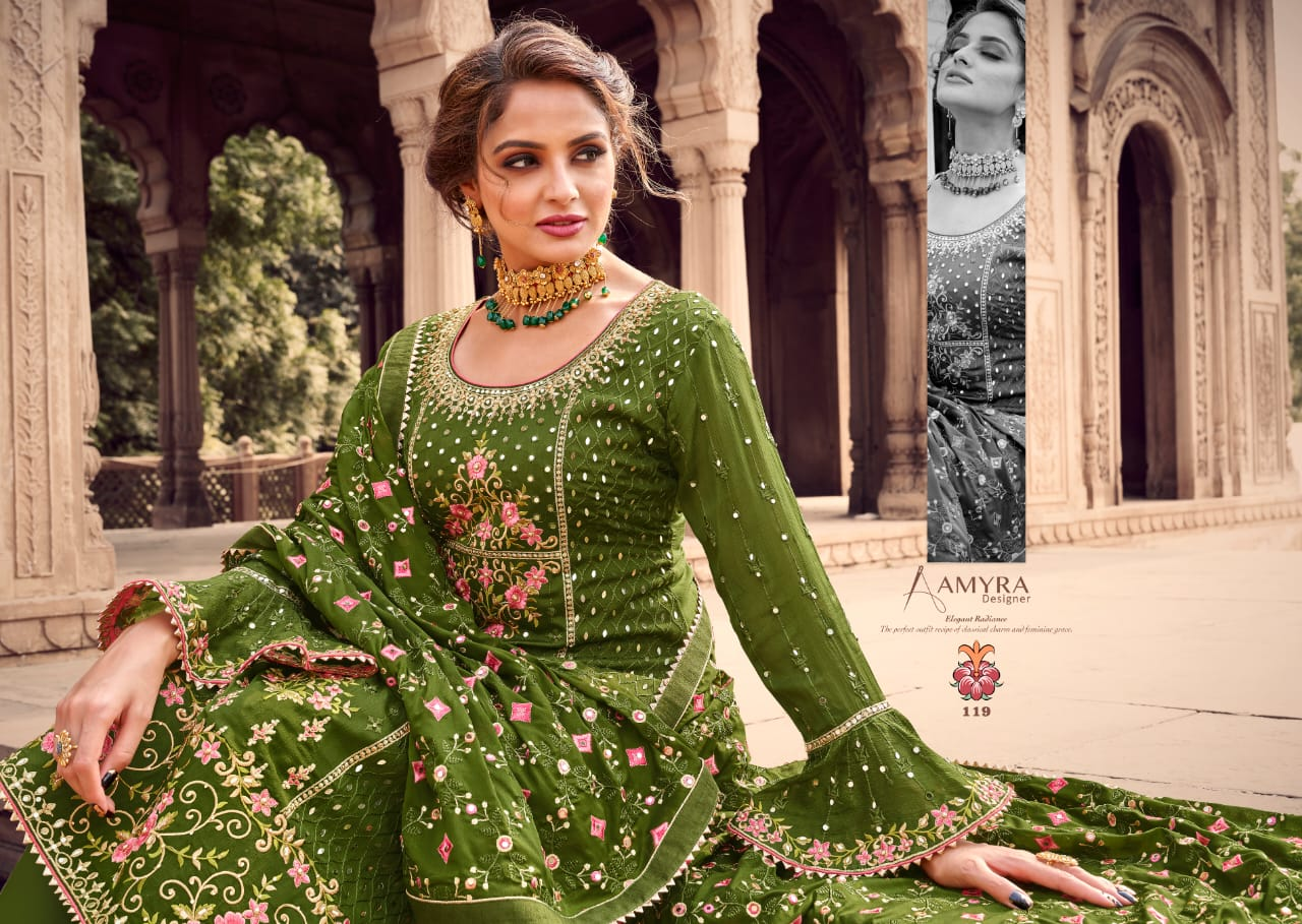 Amyra Designer Aaina Vol 4 Designer Viscose Chinon Embroidery Work With Diamond And Tikki Work With Heavy Embroidered Dupatta Partywear Suits Wholesale