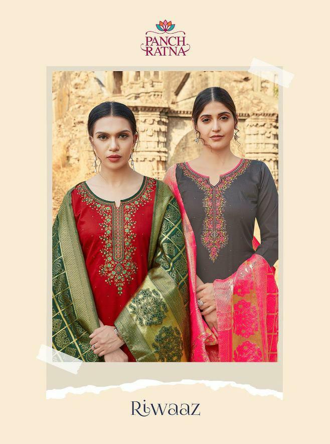 Panch Ratna Riwaaz Cotton Satin Work With Swarovski Work Suits Wholesale