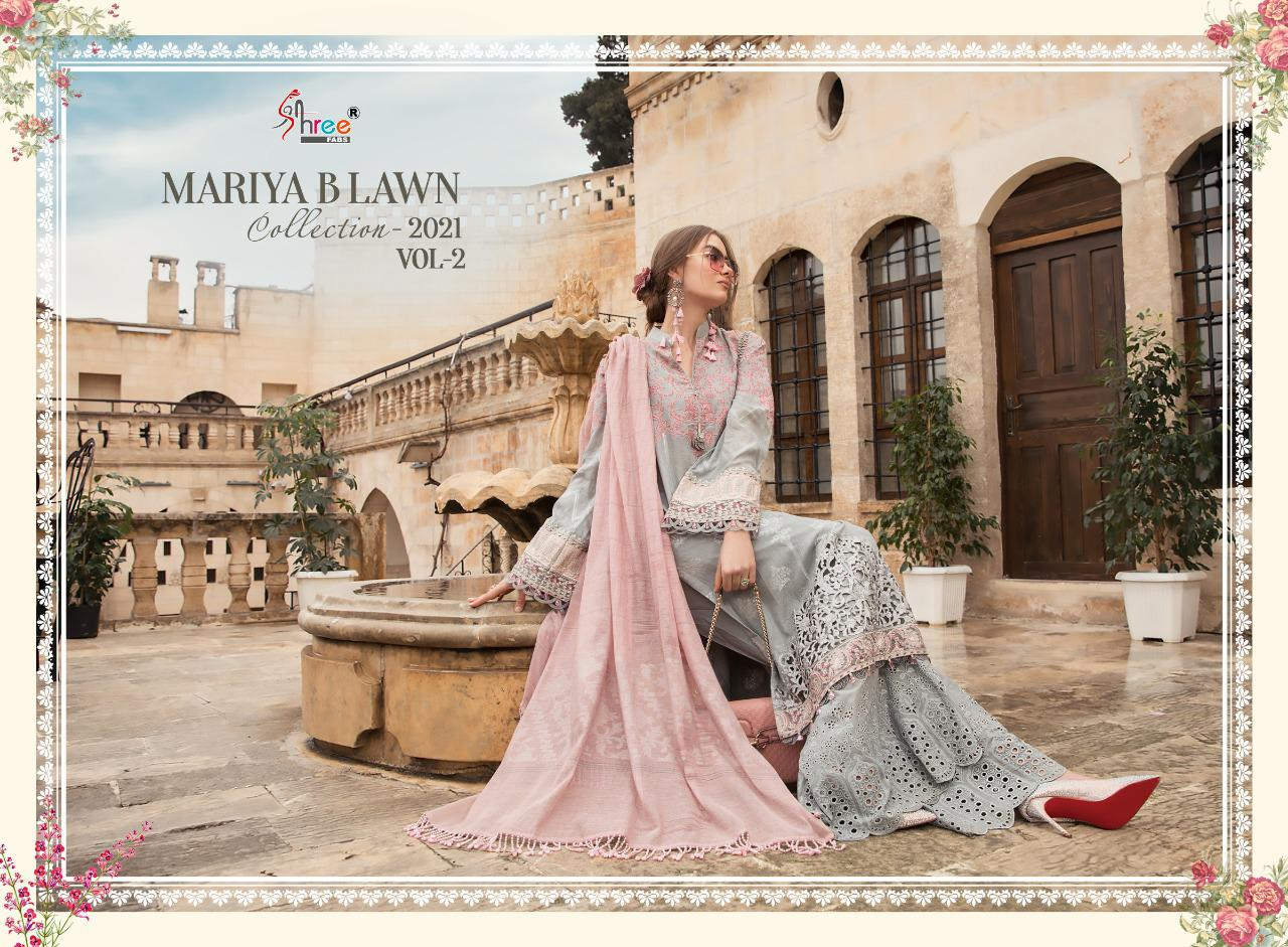 Shree Fab Mariya B Lawn Collection 2021 Vol 2 Designer  Pure Lawn Print With Schiffli Work Suits Wholesale