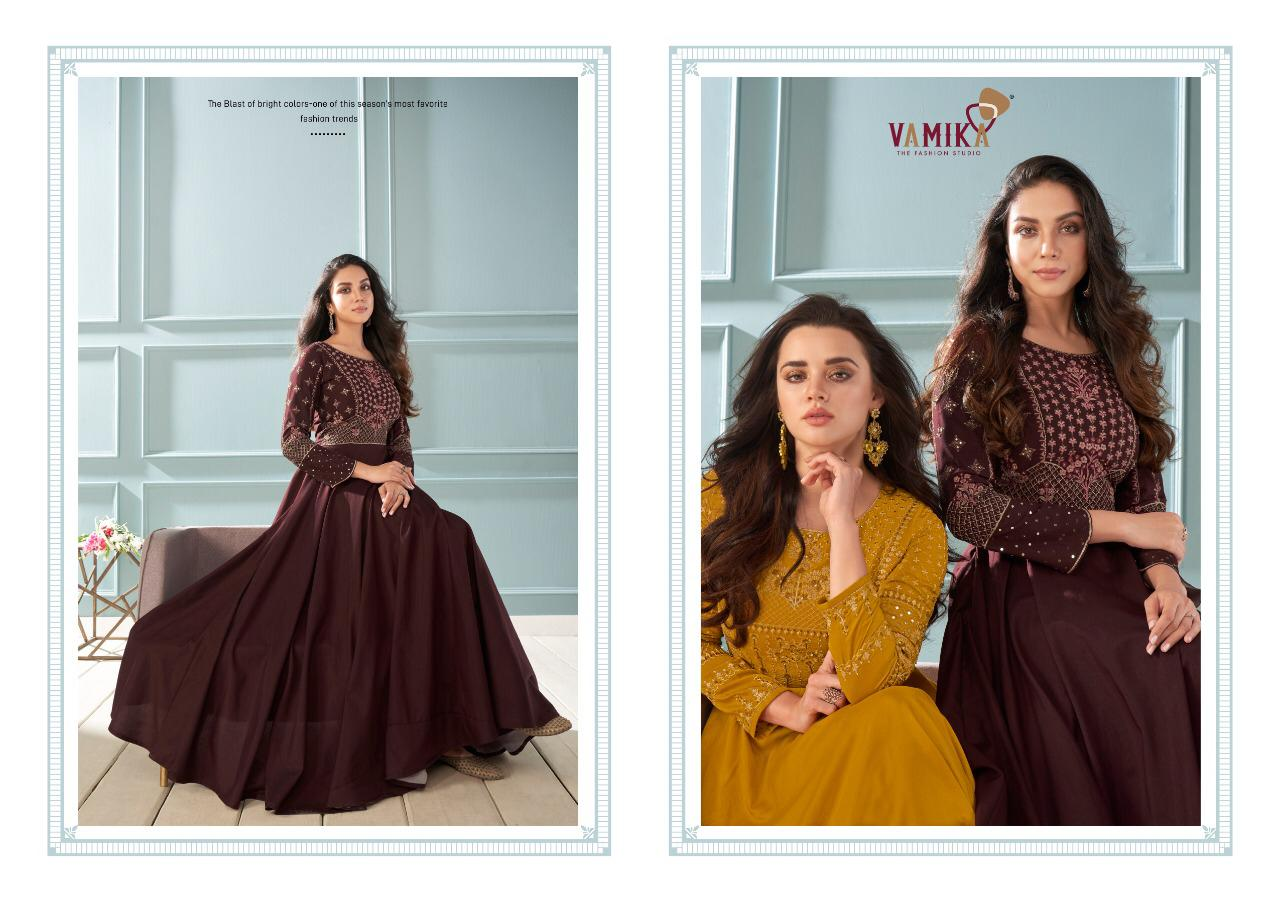 Vamika Amorina Vol 6 Designer Muslin Silk Embroidered Partywear Gowns Wholesale