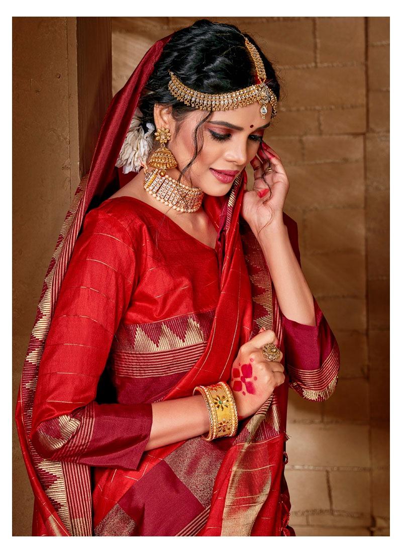 Lifestyle Samira Designer Lichi Silk Checks Chit Pallu Sarees Wholesale