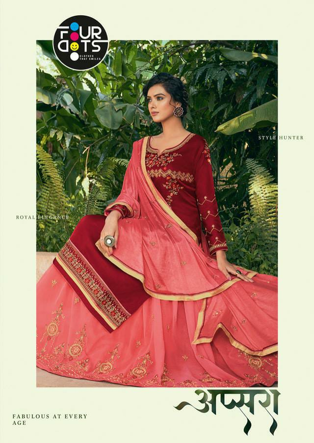 Fourdots Apsara Designer Modal Satin Embroidery Work Sequence Work Ghaghra And Bottom Two In One Heavy Partywear Suits Wholesale