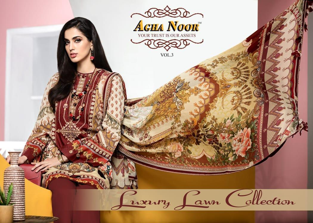 Agha Noor Vol 3 Designer Luxury Lawn Collection Karachi Style Suits Wholesale