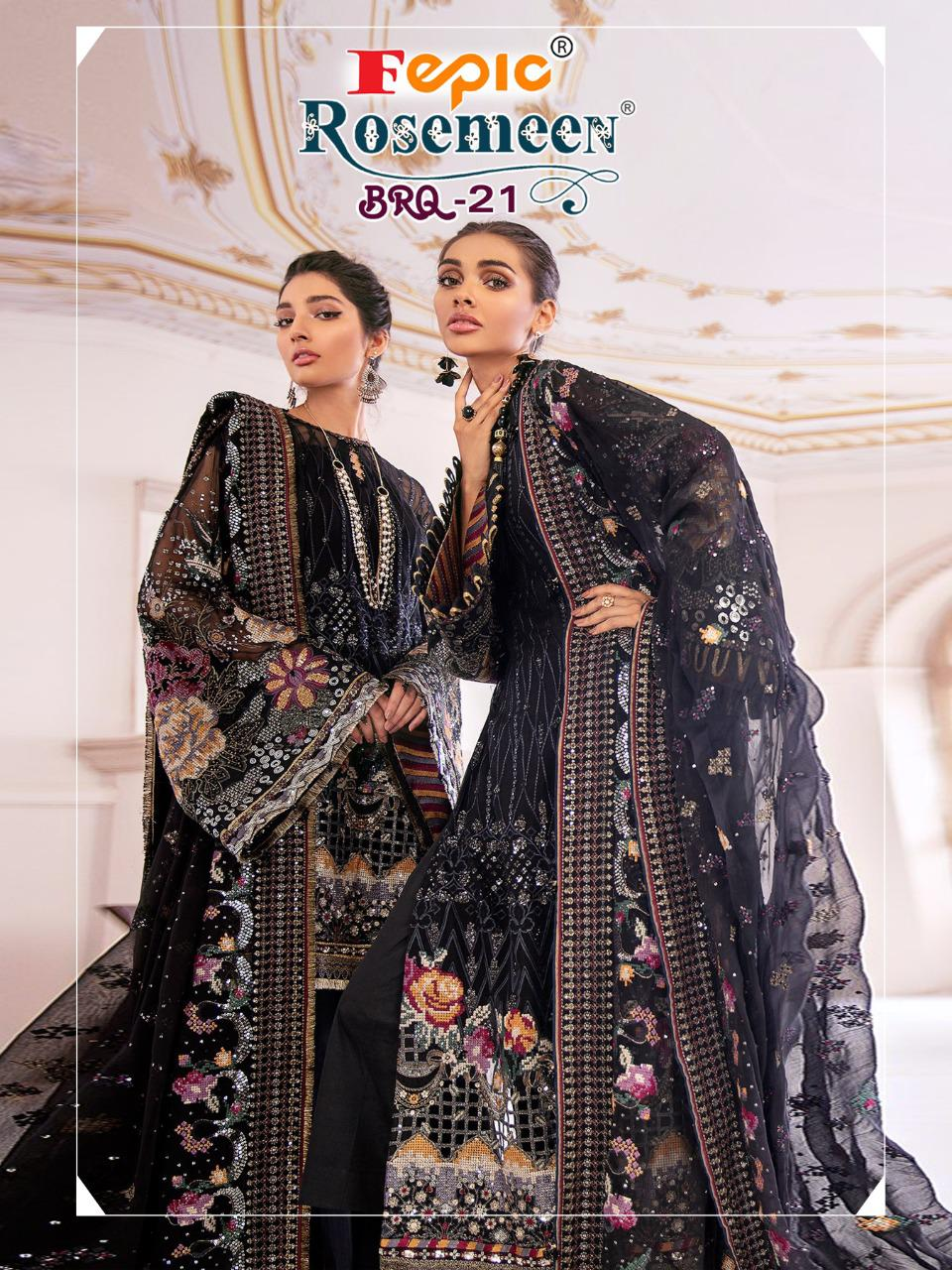 Fepic Rosemeen Brq 21 Designer Georgette/net Heavy Embroidered Pakistani Pattern Suits Wholesale