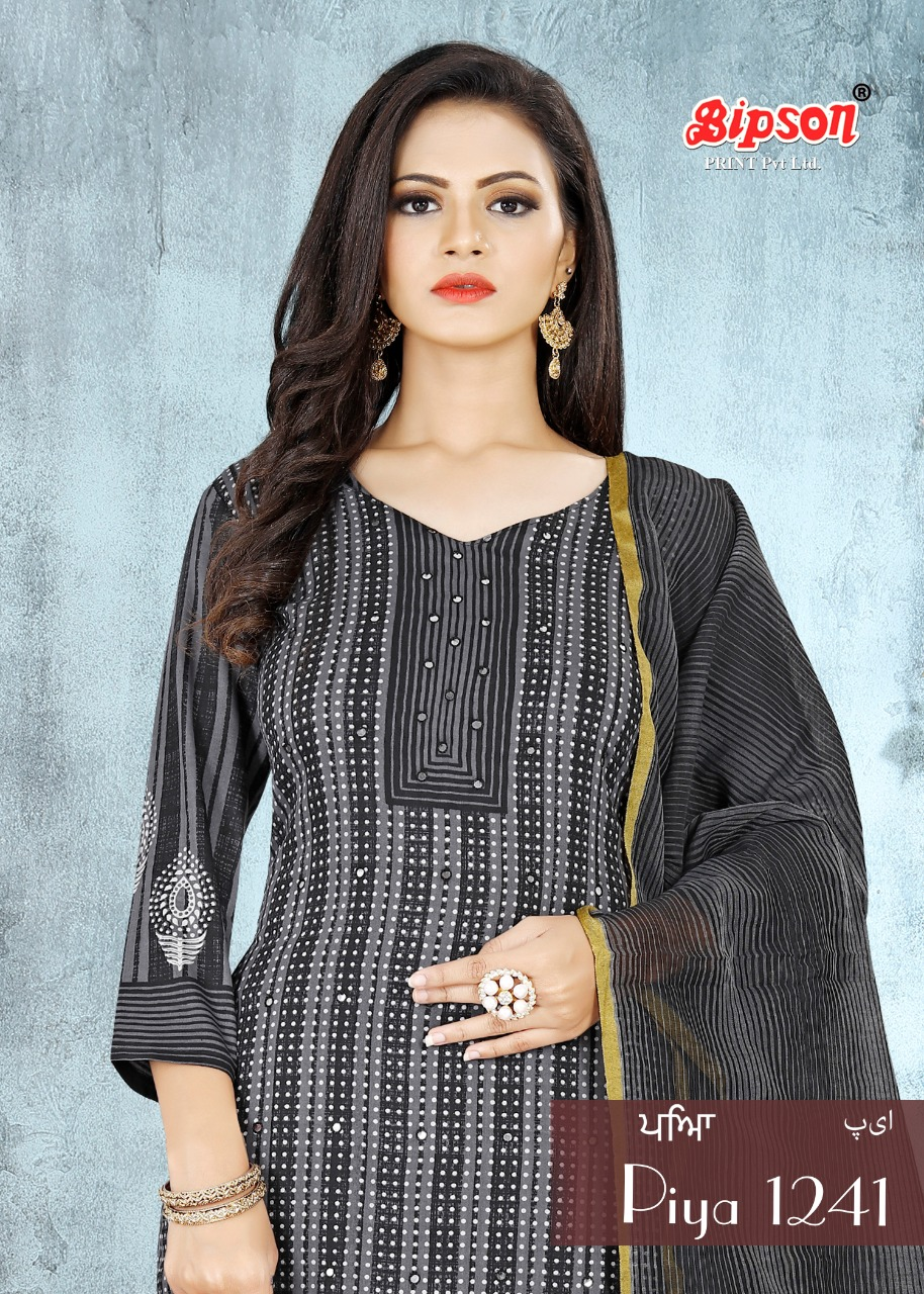 Bipson Piya 1241 Designer Cotton Satin Print With Work Suits Wholesale