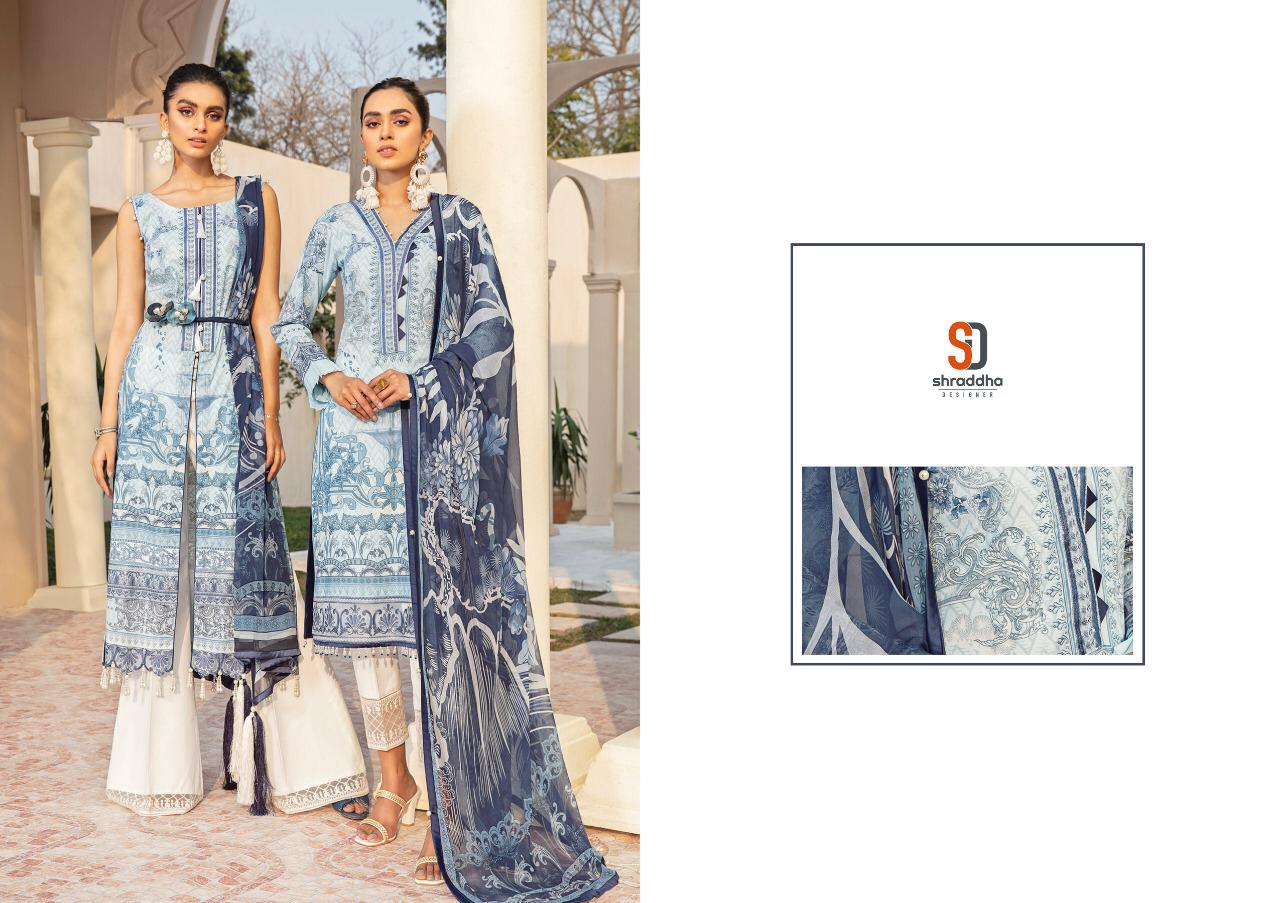 Shraddha Designer Vintage Vol 5 Designer Lawn Cotton Printed With Heavy Embroidery Work Pakistani Pattern Suits Wholesale
